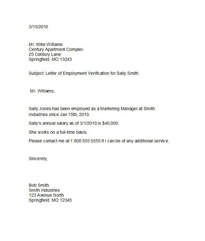 job letter sample