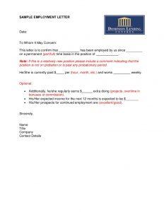 job letter sample sample employment letter