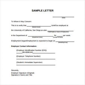 job letter sample sample pdf employment verification letter