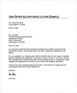 job offer acceptance letter job offer acceptance letter from employer