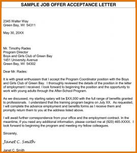 job offer acceptance letter offer acceptance letter sample job offer acceptance letter