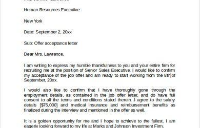 job offer acceptance letter sample job offer acceptance letter