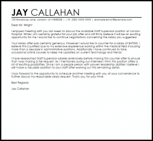 job offer negotiation letter sample counter offer job letter
