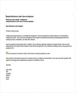 job reference format employment reference letter sample