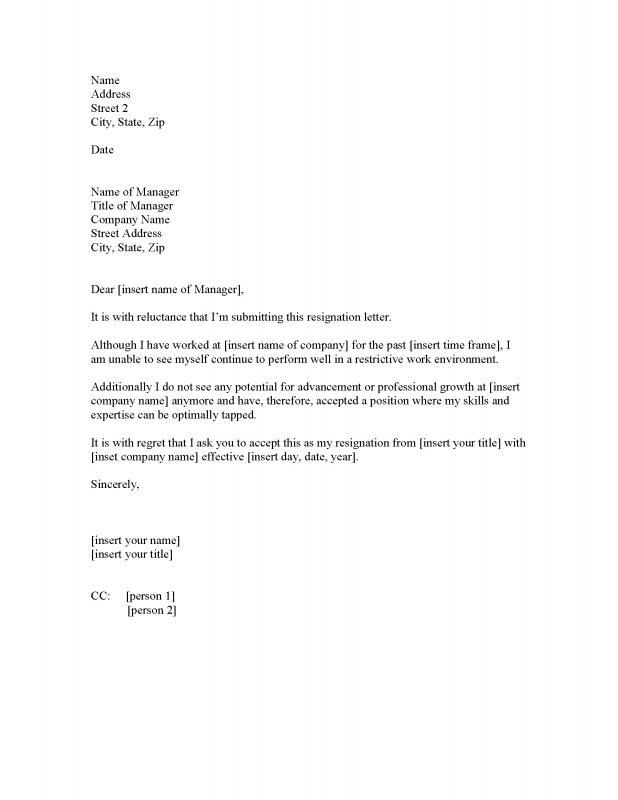 job resignation letter