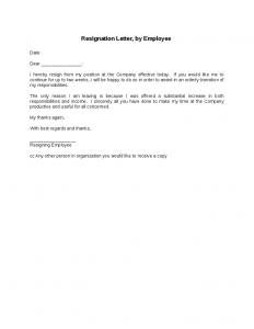 job resignation letter resignation letter by employee