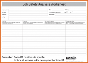 job safety analysis template job safety analysis form job safety analysis jsa form for pdf