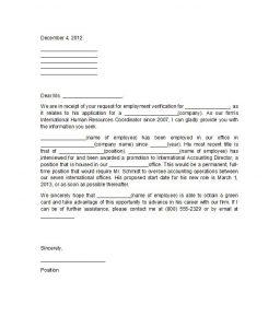 job verification letter proof of employment letter