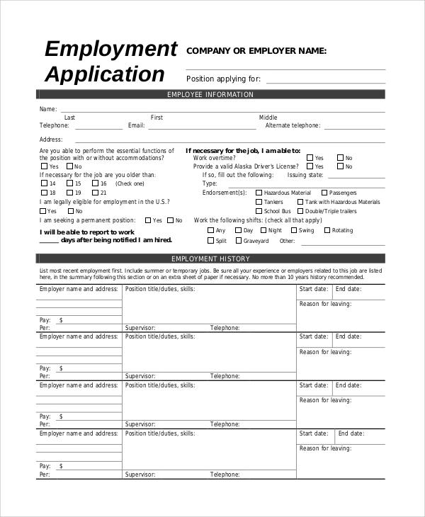 jobs application sample