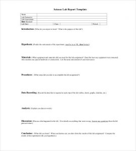 lab report layout science lab report template