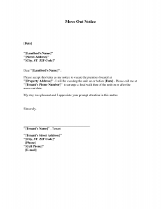 landlord letter to tenant move out sample letters notice moving out