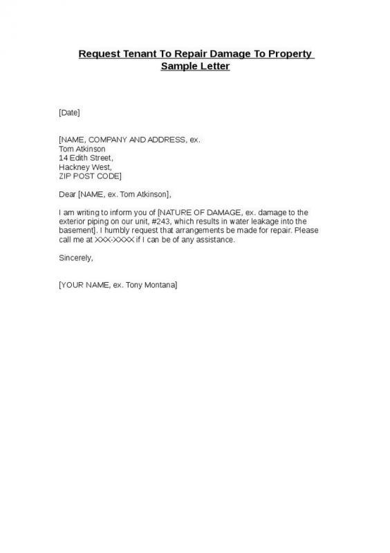 Landlord Letter To Tenant Regarding Repairs | Template Business