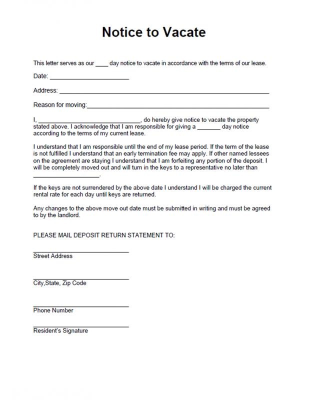 landlord notice to vacate