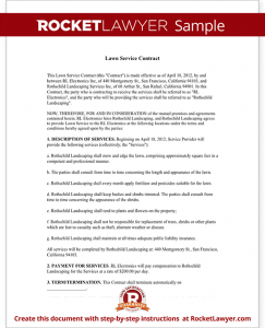 lawn care contract sample lawn service contract form template