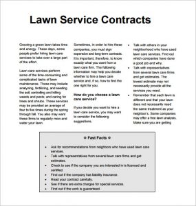 lawn care contract sample lawn service contract template pdf download