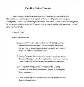 lawn maintenance contract plumbing maintenance contract template free download