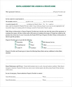 lease agreement template pdf room rental agreement in private home pdf download