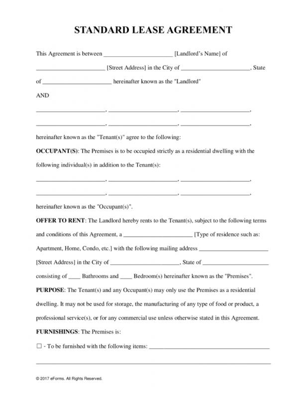 lease agreement template pdf