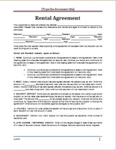 lease agreement template word rental agreementt