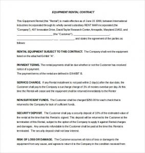 lease agreement template word word equipment rental agreement template