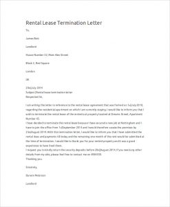 lease termination letter rental lease termination letter