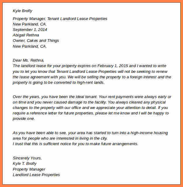 lease termination letter to landlord