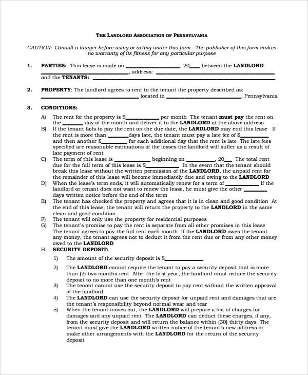leasing agreement pdf