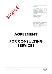 legal agreement template independent contractor agreement agreement for consulting services template sample