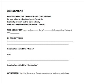 legal contract template legal agreement between contractor owner