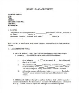 legal contract templates simple horse lease agreement