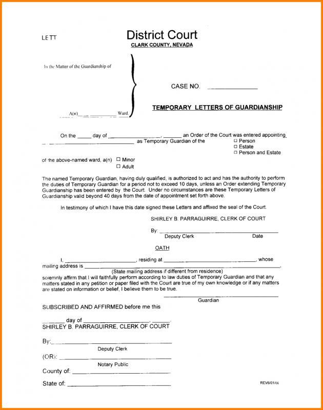 legal guardian form
