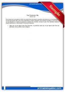 legal guardian form printable trip permission slip form