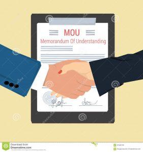 legal memo template handshake memorandum understanding vector concept mou man woman shaking hands background signed document seal flat