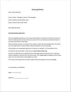 legal memo template legal action notice