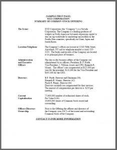 legal memorandum example ppm source sample common stock offering