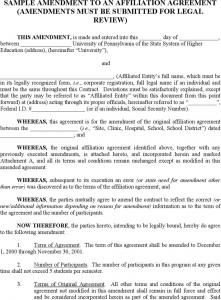 legal memorandum example sample amendment to agreement