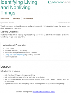 lesson plan template for preschool living and nonliving things x