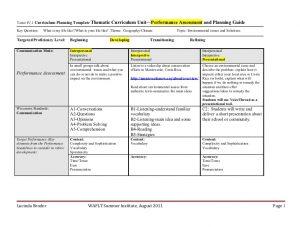 lesson plan template for preschool spanish environmental unit plan