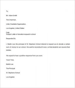 letter asking for donations donation request letter for school