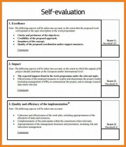 letter head examples self appraisal examples self evaluation example