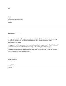 letter of application sample ojt application sample