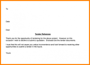 letter of application template example of a tender letter declining submit tender