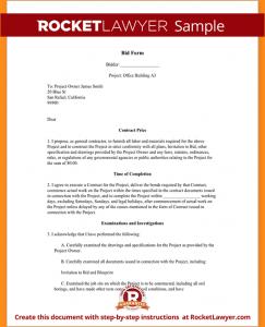 letter of application template sample bid proposal sample bid form form template