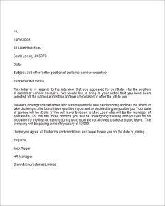 letter of employment offer job offer business letter