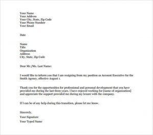 letter of employment template account executive resignation letter of notice