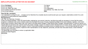 letter of employment templates cnc machinist application letter