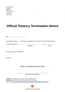 letter of eviction end of tenancy letter template from landlord to tenant