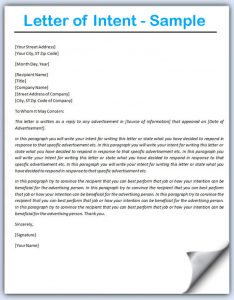 letter of intent example letter of intent sample image