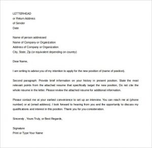 letter of intent example simple letter of intent for job new position sample for free