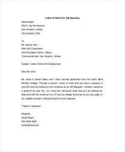 letter of intent for a job letter of intent for a job opening